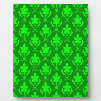 Dark Green & Light Green Ornate Wallpaper Pattern Plaque