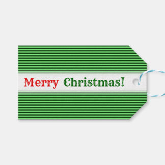 Dark Green & Light Green Stripes/Lines Pattern Gift Tags