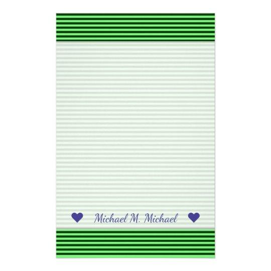 Dark Green & Light Green Stripes/Lines Pattern Stationery
