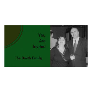 Dark Green Mod Party Invite Photo Card