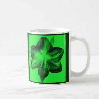 Dark Green on Light Green Amaryllis Coffee Mug