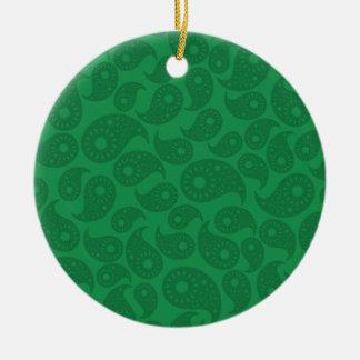 Dark Green Paisley. Christmas Tree Ornaments