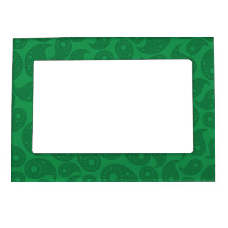 Dark Green Paisley. Magnetic Picture Frame