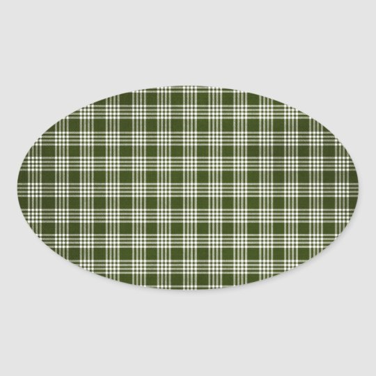 Dark Green Plaid Oval Sticker