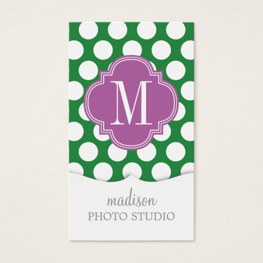 Dark Green & Purple Big Polka Dots Monogrammed Business Card