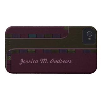 Dark green purple tile border iPhone 4 cover