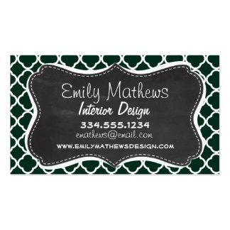 Dark Green Quatrefoil; Retro Chalkboard Business Card Templates