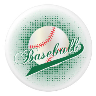Dark Green Retro Baseball Style Ceramic Knob