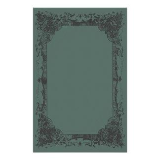 Dark Green Romantic French Flourish Stationery