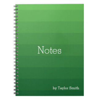 Dark Green Shades Horizontal Stripes Youthful Spiral Notebook