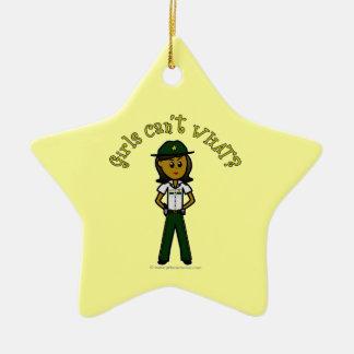 Dark Green Sheriff Girl Ceramic Star Decoration
