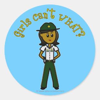Dark Green Sheriff Girl Classic Round Sticker