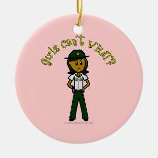 Dark Green Sheriff Girl Round Ceramic Decoration