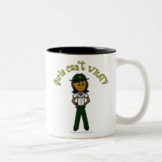 Dark Green Sheriff Girl Two-Tone Coffee Mug
