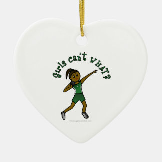 Dark Green Shot Put Double-Sided Heart Ceramic Christmas Ornament