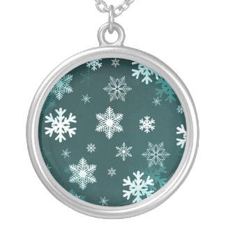 Dark Green Snowflakes Custom Necklace