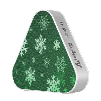 Dark Green Snowflakes Bluetooth Speaker