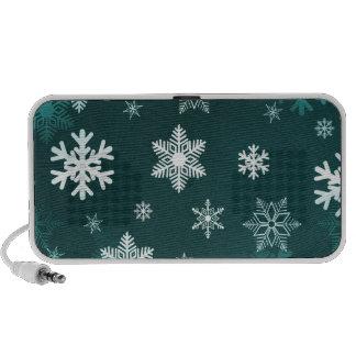 Dark Green Snowflakes Mini Speakers