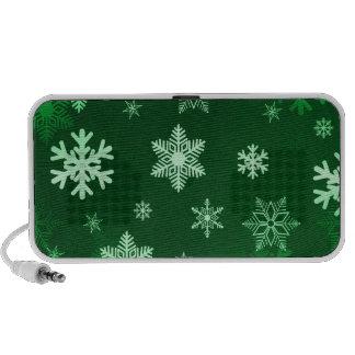 Dark Green Snowflakes PC Speakers