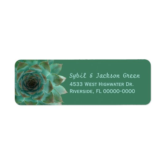 Dark Green Succulents Skinny Return Address Labels