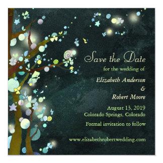 Dark Green Tree Wedding Save the Date Card