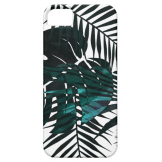 Dark green tropical leaves barely there iPhone 5 case