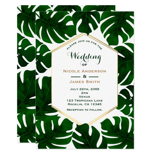 Dark Green Tropical Leaves White & Gold Wedding