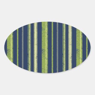 Dark Green Vertical Stripes Pattern Oval Sticker