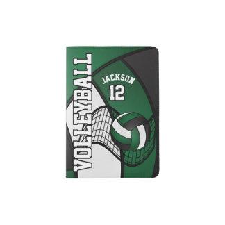 Dark Green Volleyball Design   Personalize Passport Holder