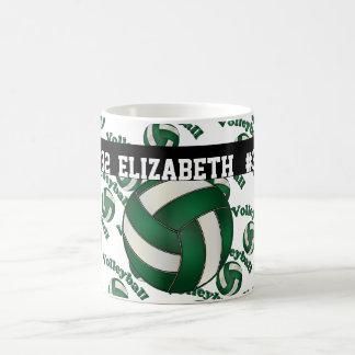 Dark Green Volleyball | Personalize Basic White Mug