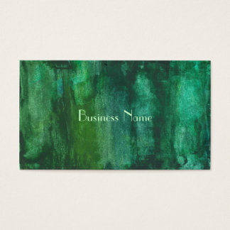 Dark Green Watercolor Abstract Business Card