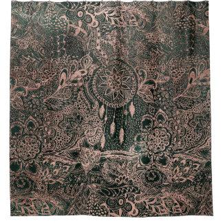 Dark green watercolor rose gold dreamcatcher shower curtain