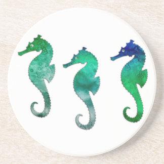 Dark Green Watercolor Seahorses Coaster