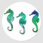 Dark Green Watercolor Seahorses Round Sticker