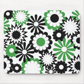 dark green, white, and black floral mousepad
