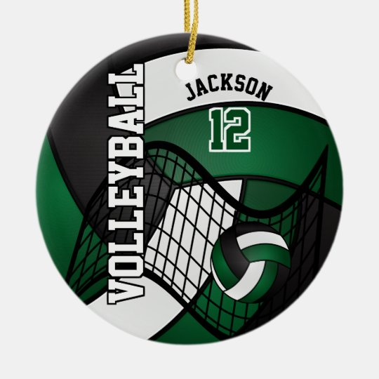 Dark Green, White & Black Personalise Volleyball Christmas
