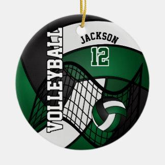 Dark Green, White & Black Personalize Volleyball Round Ceramic Decoration
