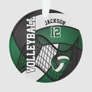 Dark Green, White & Black Volleyball Ornament