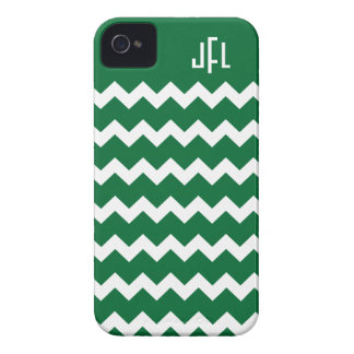 Dark Green & White Chevron Monogrammed iPhone 4/4s Case-Mate iPhone 4 Cases