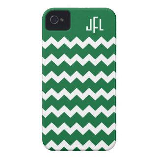 Dark Green & White Chevron Monogrammed iPhone 4/4s iPhone 4 Case