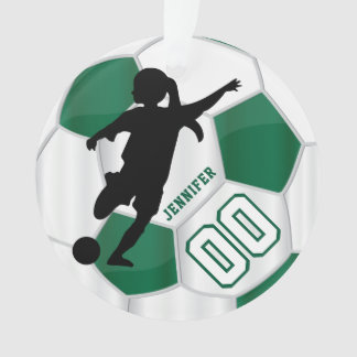 Dark Green & White Personalize Girl Soccer Player Ornament