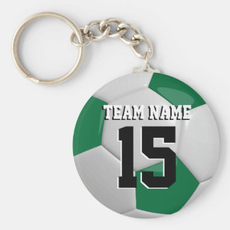 Dark Green & White Team Soccer Ball Basic Round Button Key Ring