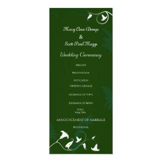 Dark green with white Lilies 10 Cm X 24 Cm Invitation Card