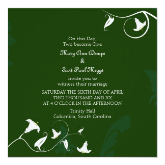 Dark green with white Lilies 13 Cm X 13 Cm Square Invitation Card