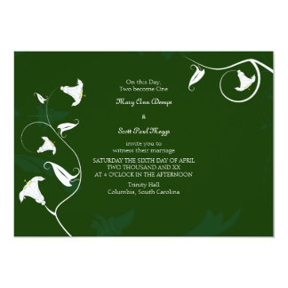 Dark green with white Lilies 13 Cm X 18 Cm Invitation Card