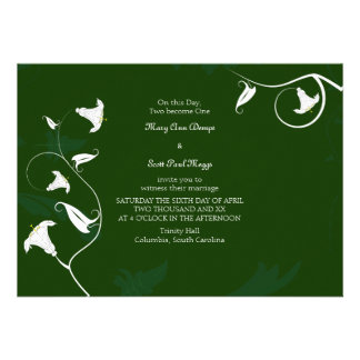 Dark green with white Lilies Custom Announcement