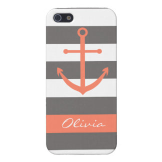 Dark Grey and Coral Anchor Monogram Case iPhone 5 Cases