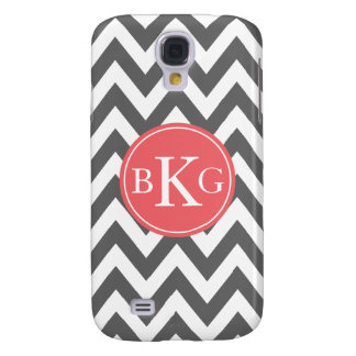 Dark Grey and Coral Chevron Custom Monogram Galaxy S4 Case