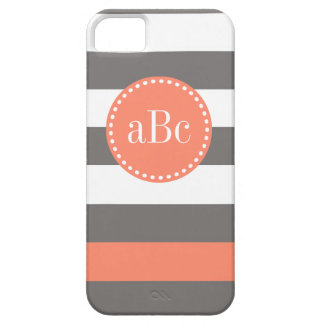 Dark Grey and Coral Monogram Case