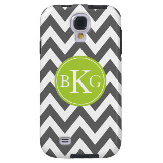 Dark Grey and Green Chevron Custom Monogram Galaxy S4 Case